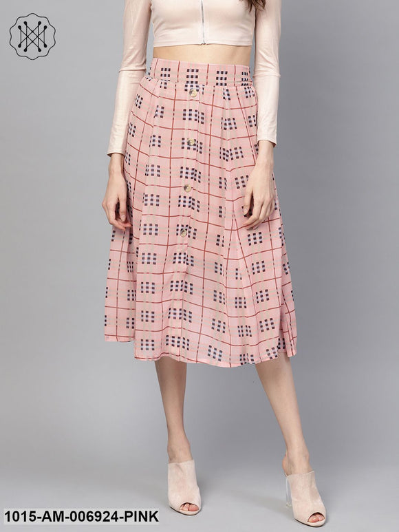 Pink Check Flared Skirt