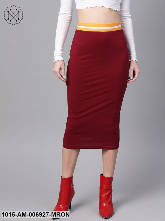 Maroon Midi Athleisure Pencil Skirt