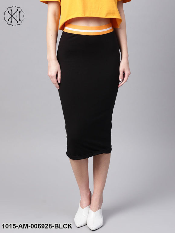 Black Midi Athleisure Pencil Skirt