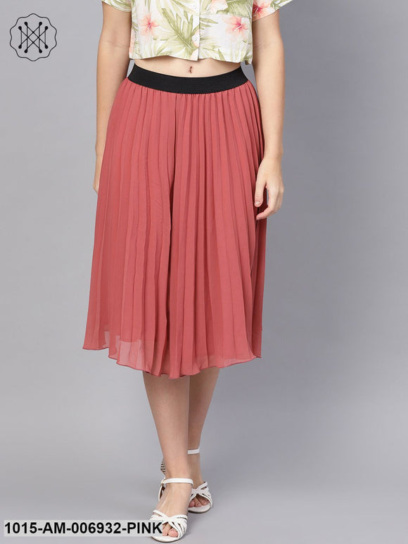 Rose Pink Pleated Flared Midi Skirt