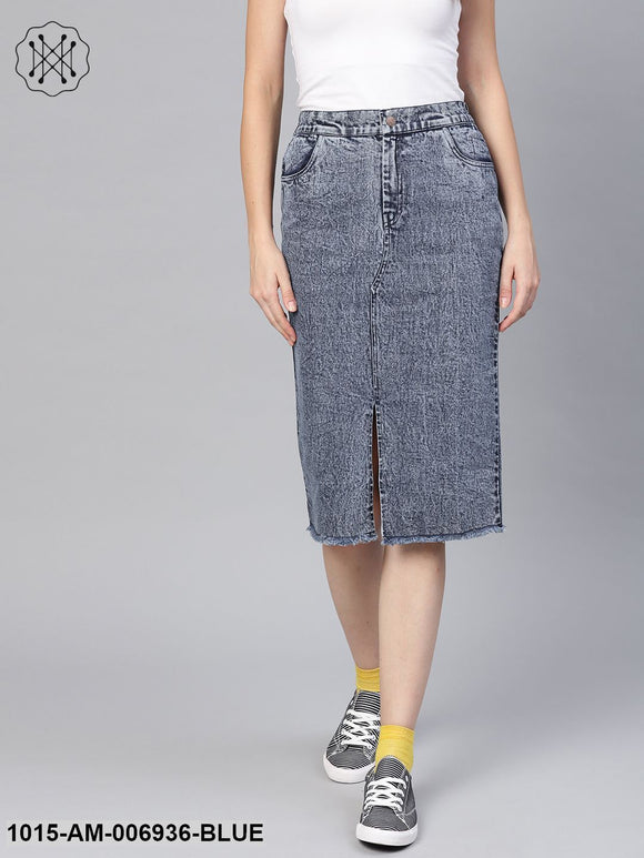 Blue Denim Pencil Skirt