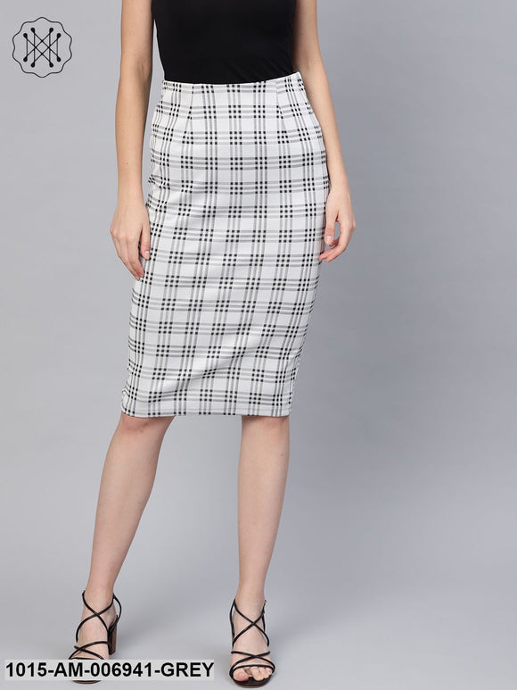 Black & Grey Check Pencil Skirt