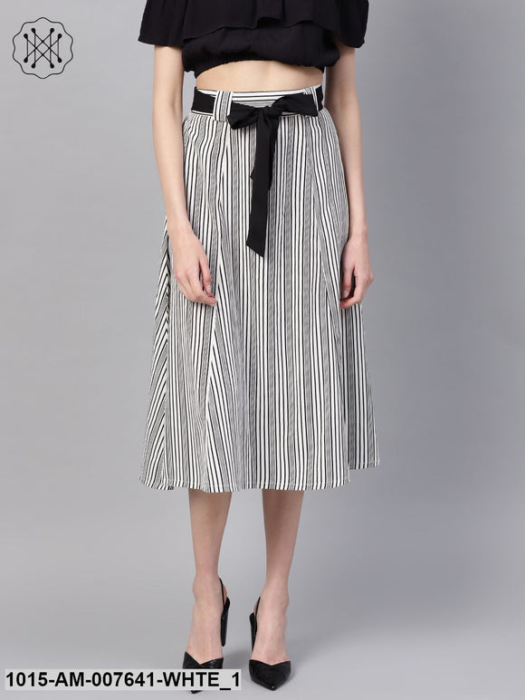 Striped Printed Flared Belted Midi Skirt