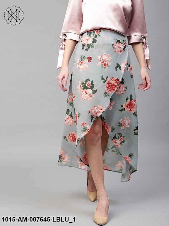 Blue Floral Wrap High Low Skirt