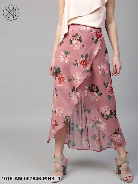 Baked Pink Floral Wrap High Low Skirt