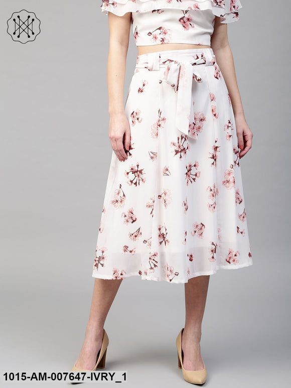 Ivory Floral Flared Skirt