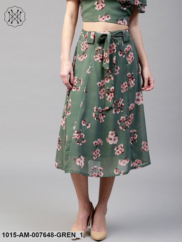 Green Floral Flared Skirt