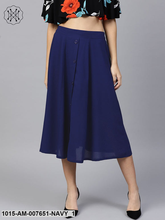 Navy Front Button Flared Midi Skirt