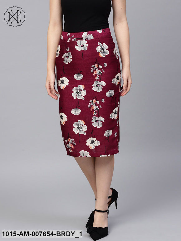 Burgundy Floral Silk Pencil Skirt