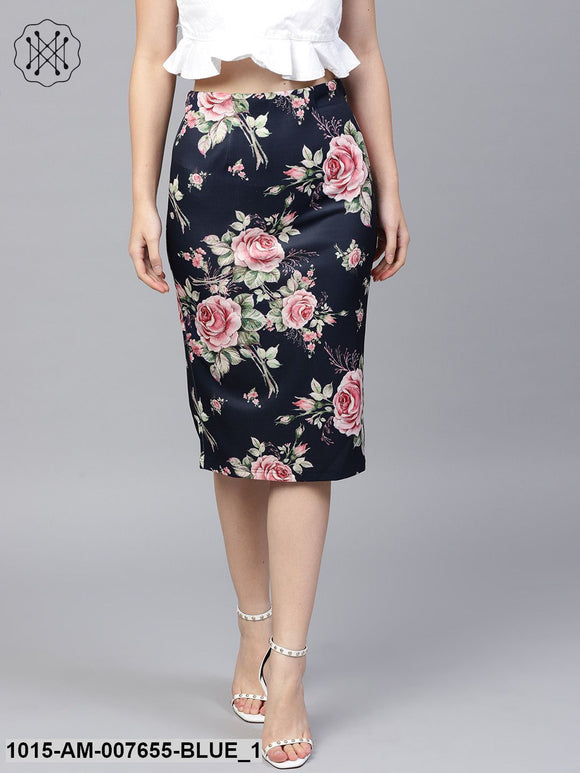 Blue Floral Scuba Pencil Skirt