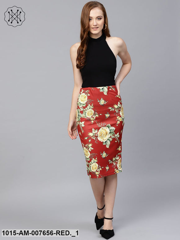 Red Floral Scuba Pencil Skirt
