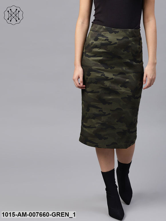 Camouflage Back Slit Pencil Skirt
