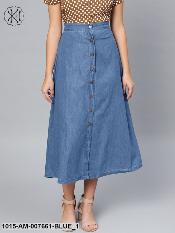 Blue Denim Longline Buttoned Skirt