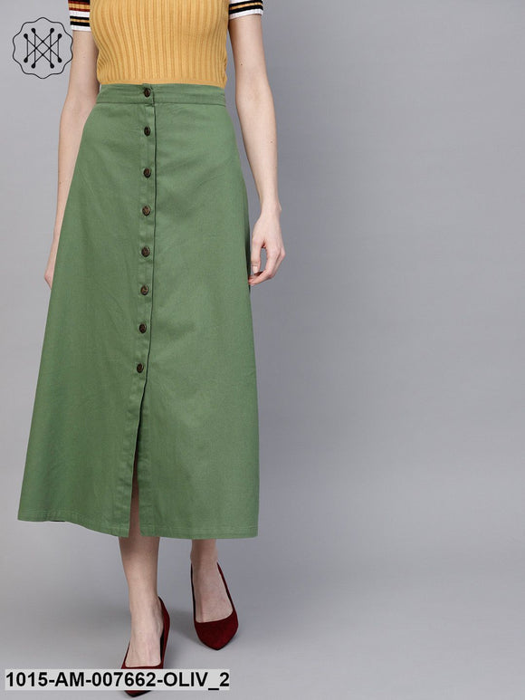 Olive Denim Longline Buttoned Skirt