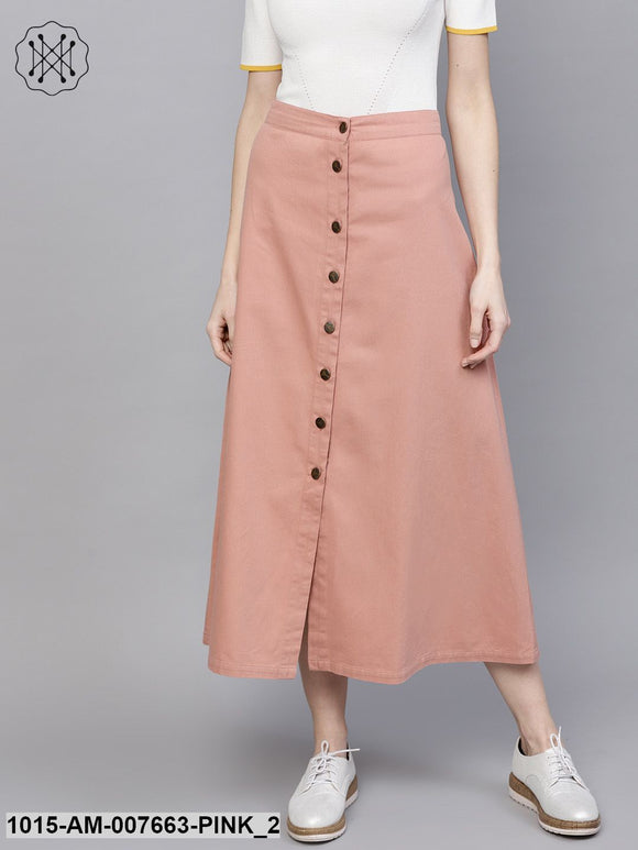 Pink Denim Longline Buttoned Skirt