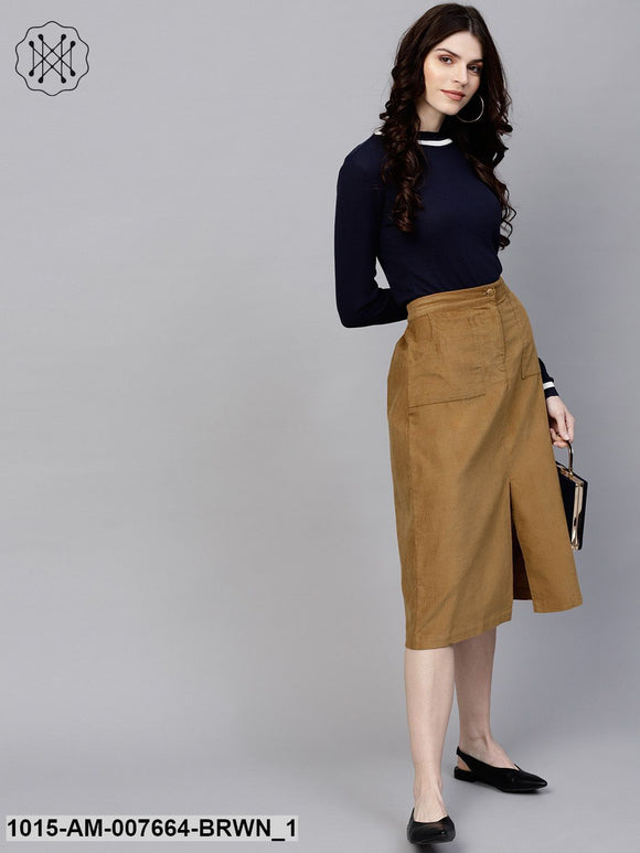 Brown Front Slit Corduroy Midi Skirt