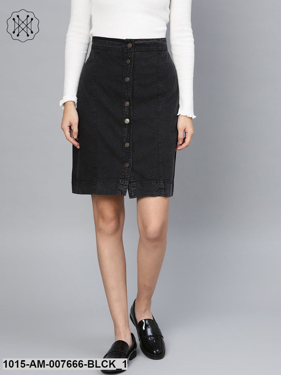 Black Denim A-Line Skirt