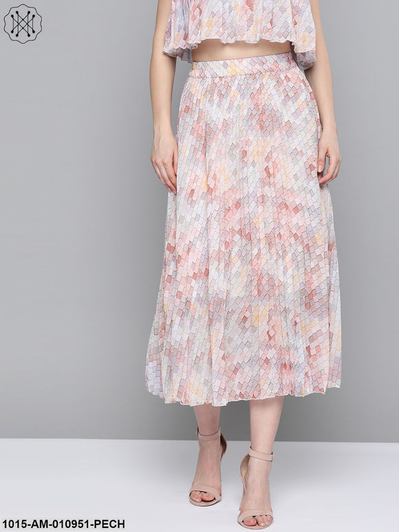 Peach Tile Print Pleated Longline Skirt