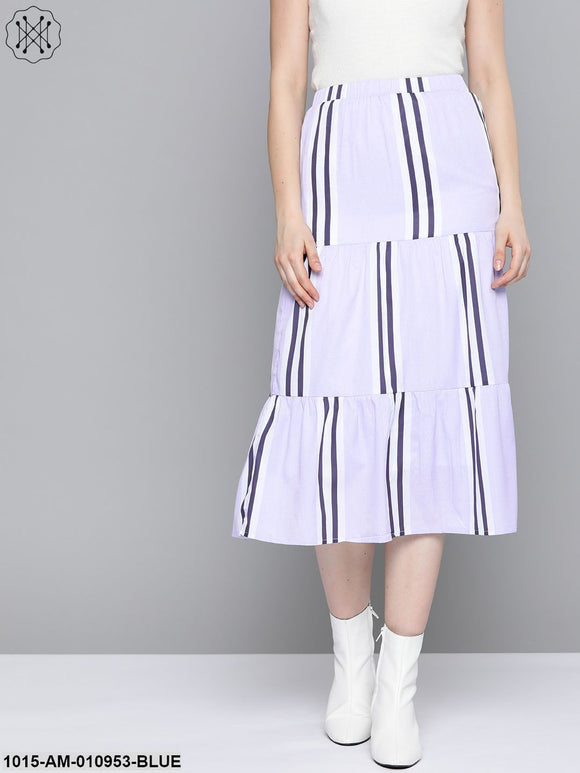 Lavender Stripe Tiered Skirt