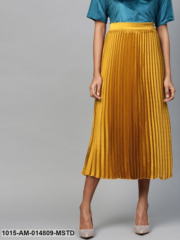 Mustard Satin Pleated Midi Skirt