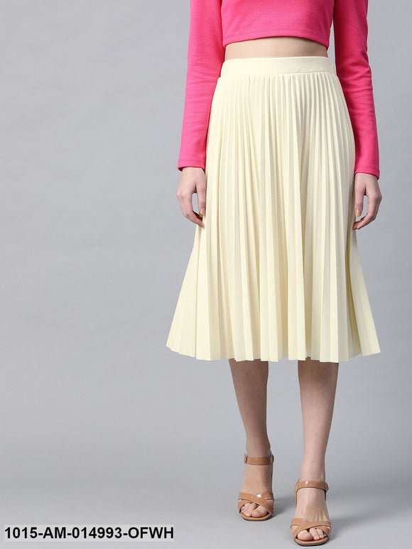 Off White Rib Pleated Skirt