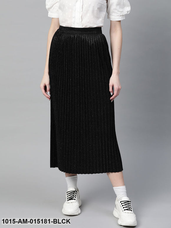 Black Lurex Pleated Midi Skirt