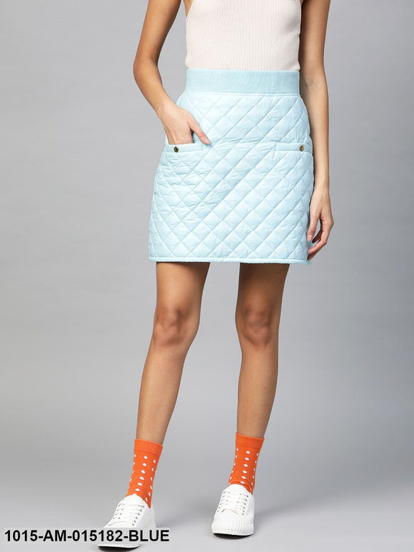 Blue Quilted Mini Skirt