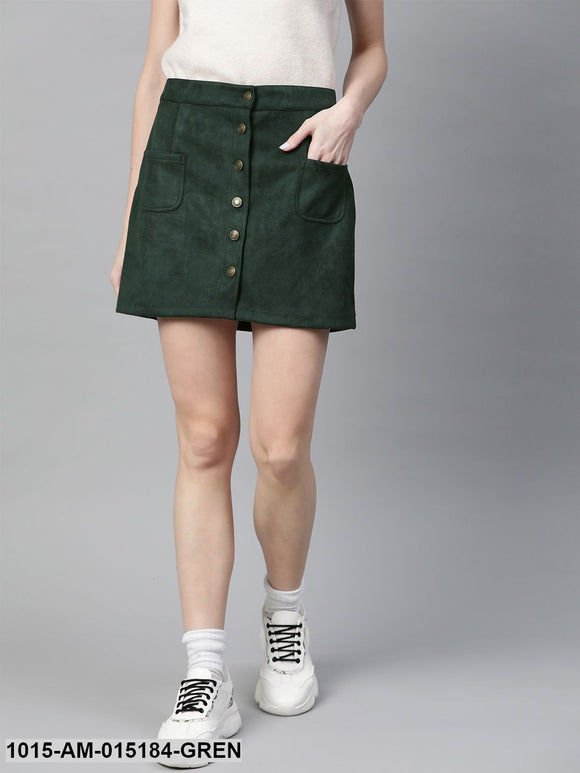 Emerald Green Button Down Mini Skirt