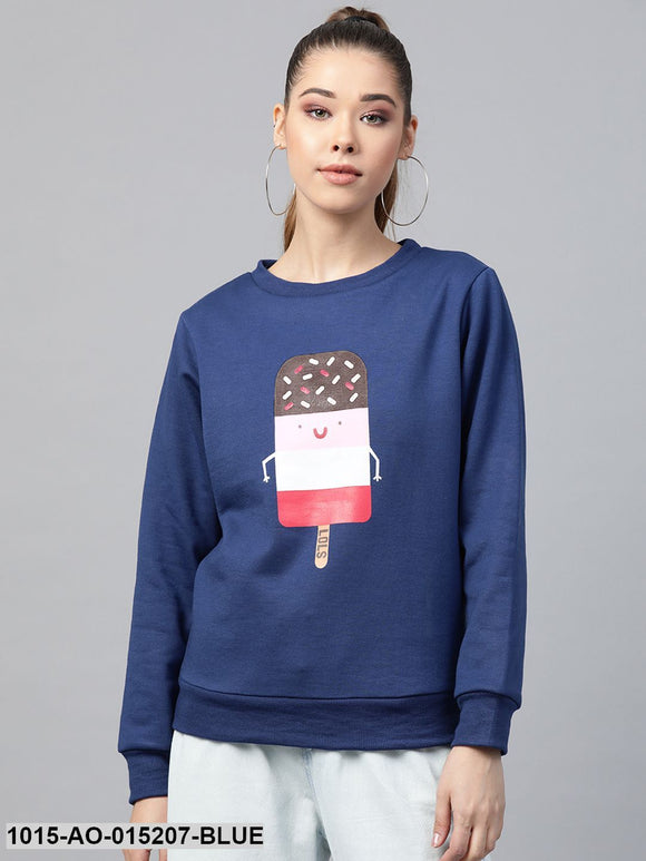 Blue Ice-Cream Print Sweatshirt