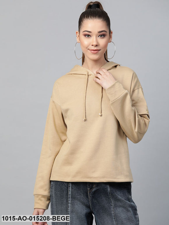 Beige Pocket Detail At Sleeve Hoodie