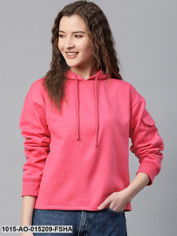 Fuchsia Pocket Detail At Sleeve Hoodie