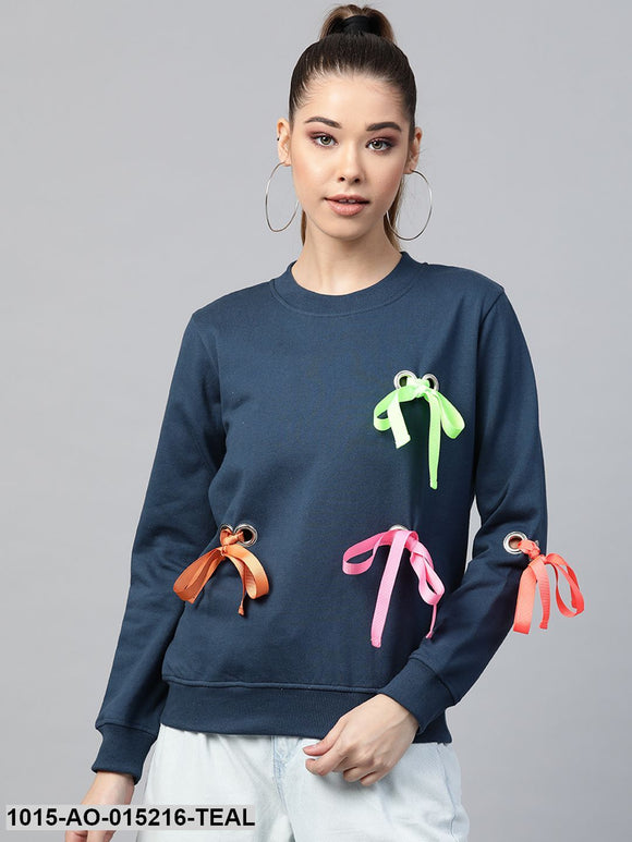 Teal Multicolor Ribbon Detail Sweatshirt