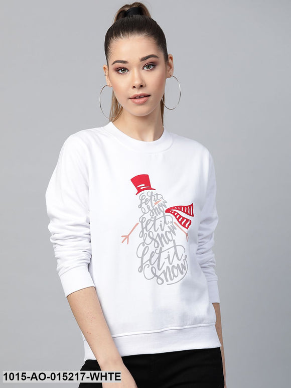 White Let It Snow Print Sweatshirt
