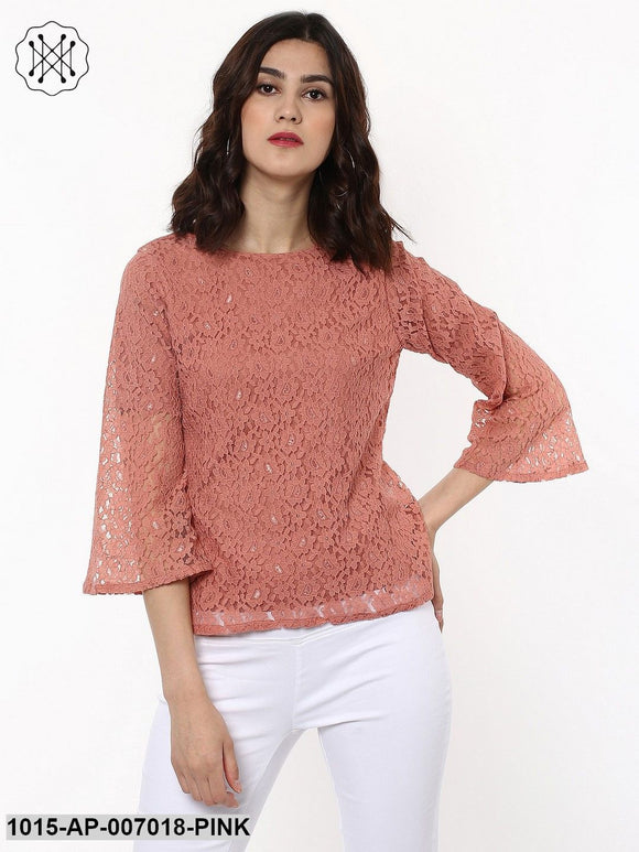 Lace Bell Sleeves Pink Top