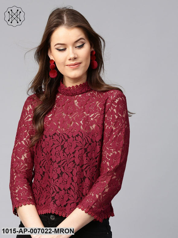 Maroon Lace Back Zipper Top