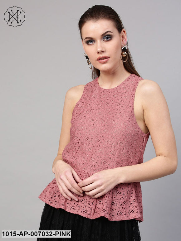 Onion Pink Lace Sleeveless Peplum Top