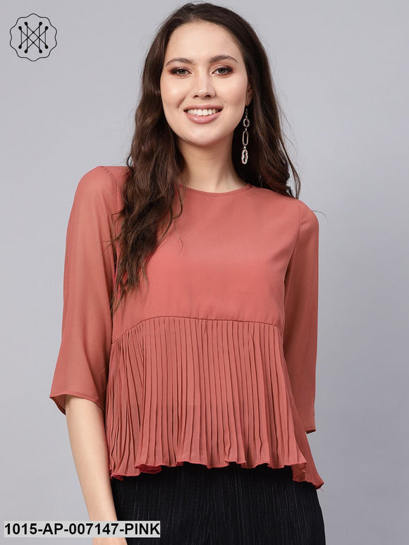 Rose Pink Pleated Peplum Top