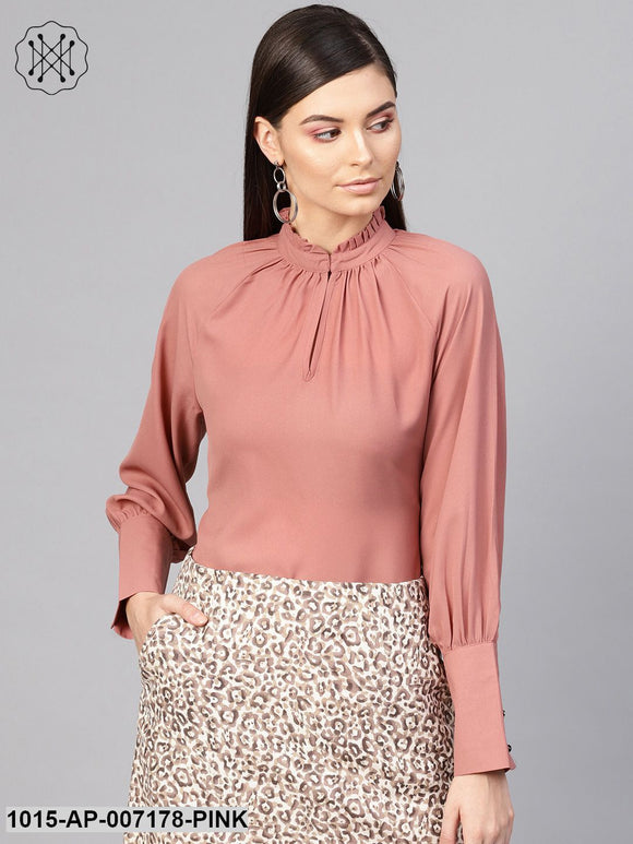Baked Pink Pleated Collar Top