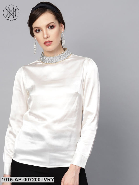 Ivory Satin Blingy Neck Top