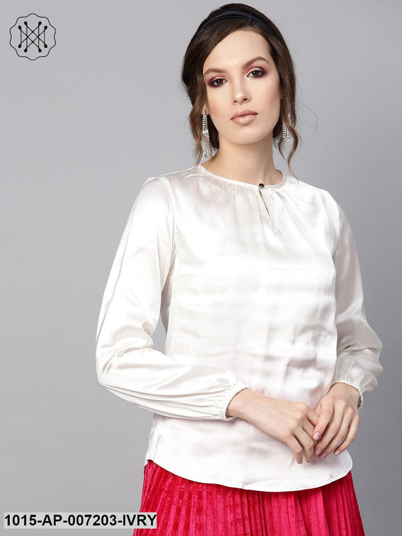 Ivory Satin Front Key Hole Blouse
