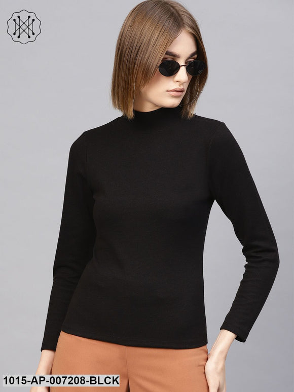Black High Neck Rib Top