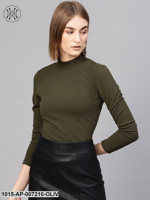 Olive Turtle Neck Top