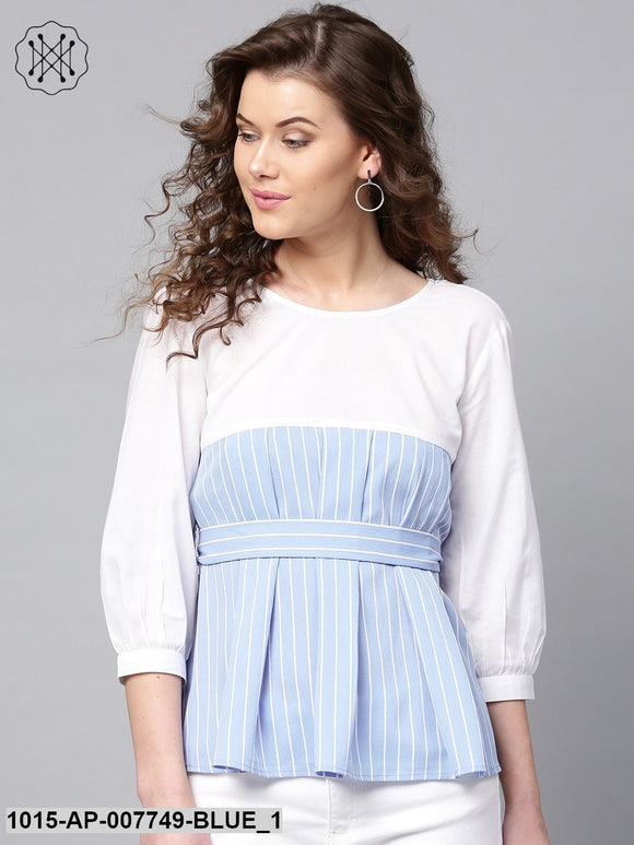 Blue Stripes Pleated Peplum Top