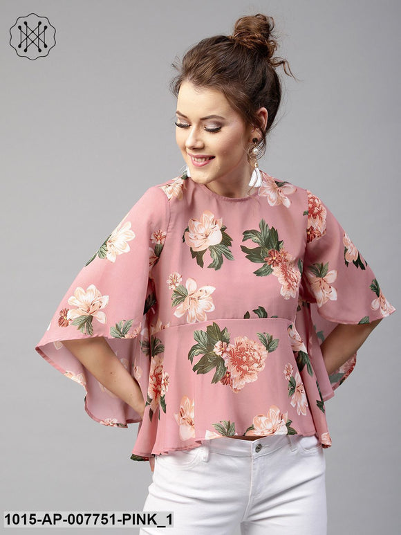 Baked Pink Floral Flared Sleeve Top
