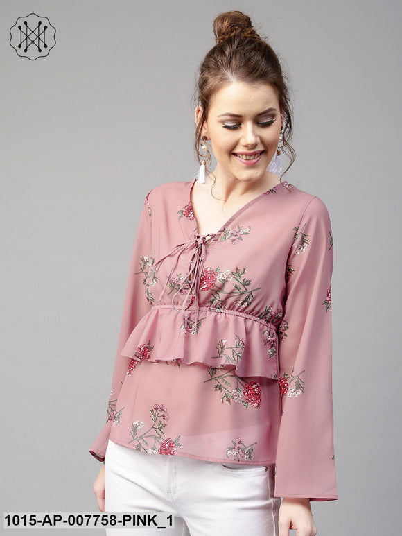 Onion Pink Floral Tie Up Bell Sleeve Top
