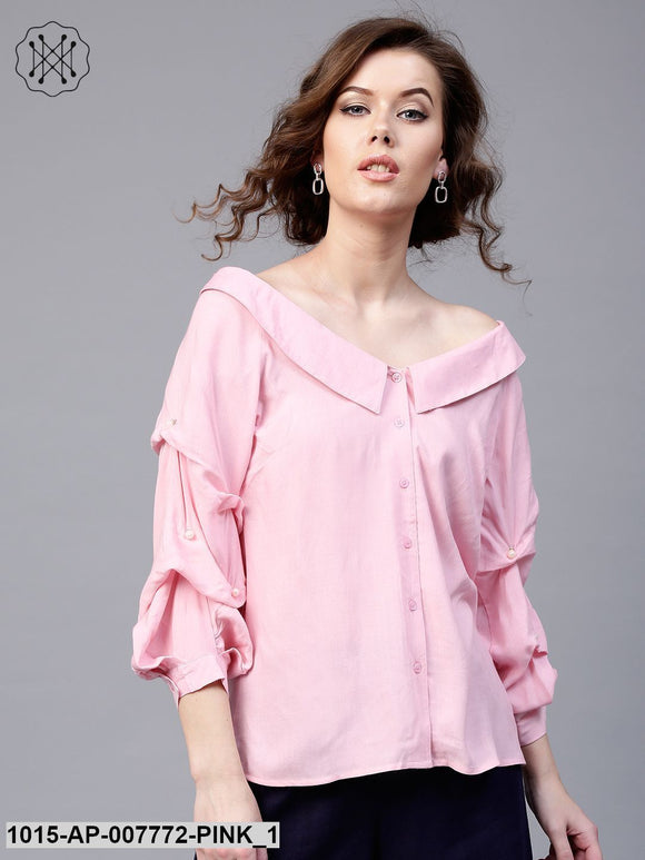 Pink Tucked Pearl Sleeve Top