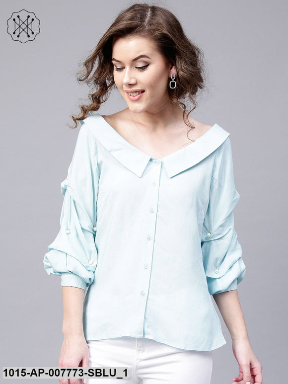 Blue Tucked Pearl Sleeve Top
