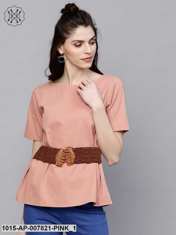Pink Denim Belted Top