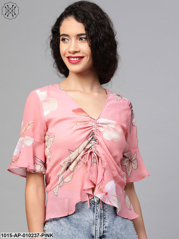 Rose Pink Floral Front Rouched Top