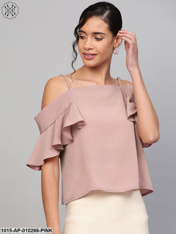 Baked Pink Strappy Cold Shoulder Top